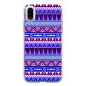 TPU0IPHONEXAZTEQUEBLEUVIO - Coque souple pour Apple iPhone X avec impression Motifs aztèque bleu et violet