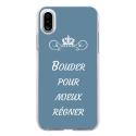 TPU0IPHONEXBOUDERBLEU - Coque souple pour Apple iPhone X avec impression Motifs Bouder pour mieux Régner bleu