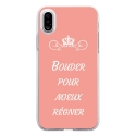 TPU0IPHONEXBOUDERROSE - Coque souple pour Apple iPhone X avec impression Motifs Bouder pour mieux Régner rose