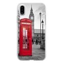 TPU0IPHONEXCABINEUK - Coque souple pour Apple iPhone X avec impression Motifs cabine téléphonique UK rouge