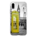 TPU0IPHONEXCABINEUKJAUNE - Coque souple pour Apple iPhone X avec impression Motifs cabine téléphonique UK jaune
