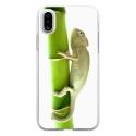TPU0IPHONEXCAMELEON - Coque souple pour Apple iPhone X avec impression Motifs caméleon sur un bamboo