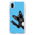 TPU0IPHONEXCHIENVBLEU - Coque souple pour Apple iPhone X avec impression Motifs chien à lunettes sur fond bleu