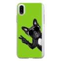 TPU0IPHONEXCHIENVVERT - Coque souple pour Apple iPhone X avec impression Motifs chien à lunettes sur fond vert