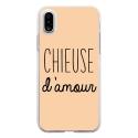 TPU0IPHONEXCHIEUSEBEIGE - Coque souple pour Apple iPhone X avec impression Motifs Chieuse d'Amour beige