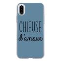 TPU0IPHONEXCHIEUSEBLEU - Coque souple pour Apple iPhone X avec impression Motifs Chieuse d'Amour bleu