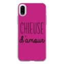 TPU0IPHONEXCHIEUSEFUSHIA - Coque souple pour Apple iPhone X avec impression Motifs Chieuse d'Amour fushia