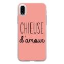 TPU0IPHONEXCHIEUSEROSE - Coque souple pour Apple iPhone X avec impression Motifs Chieuse d'Amour rose