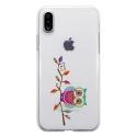 TPU0IPHONEXCHOUETTEBRANCHE - Coque souple pour Apple iPhone X avec impression Motifs chouette sur une branche