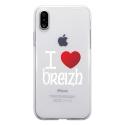 TPU0IPHONEXCOEURBREIZH - Coque souple pour Apple iPhone X avec impression Motifs coeur rouge I Love Breizh