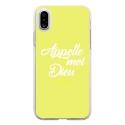 TPU0IPHONEXDIEUJAUNE - Coque souple pour Apple iPhone X avec impression Motifs Appelle moi Dieu jaune