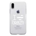 TPU0IPHONEXDRAPBREIZH - Coque souple pour Apple iPhone X avec impression Motifs drapeau Breton I Love Breizh