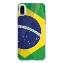 TPU0IPHONEXDRAPBRESIL - Coque souple pour Apple iPhone X avec impression Motifs drapeau du Brésil