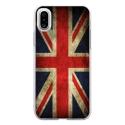 TPU0IPHONEXDRAPUKVINTAGE - Coque souple pour Apple iPhone X avec impression Motifs drapeau UK vintage