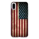 TPU0IPHONEXDRAPUSAVINTAGE - Coque souple pour Apple iPhone X avec impression Motifs drapeau USA vintage