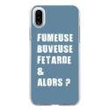 TPU0IPHONEXFUMEUSEBLEU - Coque souple pour Apple iPhone X avec impression Motifs fumeuse et alors bleu