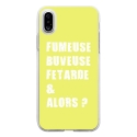 TPU0IPHONEXFUMEUSEJAUNE - Coque souple pour Apple iPhone X avec impression Motifs fumeuse et alors jaune