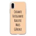 TPU0IPHONEXGENIALEBEIGE - Coque souple pour Apple iPhone X avec impression Motifs Chiante mais Géniale beige