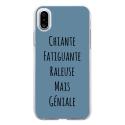 TPU0IPHONEXGENIALEBLEU - Coque souple pour Apple iPhone X avec impression Motifs Chiante mais Géniale bleu