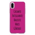 TPU0IPHONEXGENIALEFUSHIA - Coque souple pour Apple iPhone X avec impression Motifs Chiante mais Géniale fushia