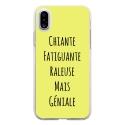 TPU0IPHONEXGENIALEJAUNE - Coque souple pour Apple iPhone X avec impression Motifs Chiante mais Géniale jaune