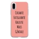 TPU0IPHONEXGENIALEROSE - Coque souple pour Apple iPhone X avec impression Motifs Chiante mais Géniale rose