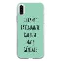 TPU0IPHONEXGENIALETURQUOISE - Coque souple pour Apple iPhone X avec impression Motifs Chiante mais Géniale turquoise