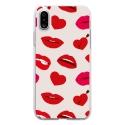 TPU0IPHONEXLIPS - Coque souple pour Apple iPhone X avec impression Motifs lèvres et coeurs rouges