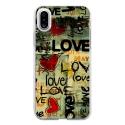 TPU0IPHONEXLOVEVINTAGE - Coque souple pour Apple iPhone X avec impression Motifs Love Vintage