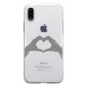 TPU0IPHONEXMAINCOEUR - Coque souple pour Apple iPhone X avec impression Motifs mains en forme de coeur