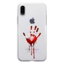 TPU0IPHONEXMAINSANG - Coque souple pour Apple iPhone X avec impression Motifs main ensanglantée