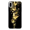TPU0IPHONEXPAPILLONSDORES - Coque souple pour Apple iPhone X avec impression Motifs papillons dorés