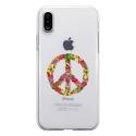 TPU0IPHONEXPEACELOVE - Coque souple pour Apple iPhone X avec impression Motifs Peace and Love fleuri