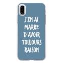 TPU0IPHONEXRAISONBLEU - Coque souple pour Apple iPhone X avec impression Motifs marre d'avoir raison bleu