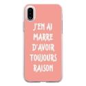 TPU0IPHONEXRAISONROSE - Coque souple pour Apple iPhone X avec impression Motifs marre d'avoir raison rose