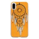 TPU0IPHONEXREVEORANGE - Coque souple pour Apple iPhone X avec impression Motifs attrape rêve sur fond orange