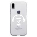 TPU0IPHONEXSINGECASQ - Coque souple pour Apple iPhone X avec impression Motifs singe avec son casque