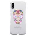 TPU0IPHONEXSKULLFLEUR - Coque souple pour Apple iPhone X avec impression Motifs crâne en fleurs