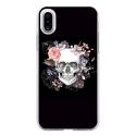 TPU0IPHONEXSKULLFLOWER - Coque souple pour Apple iPhone X avec impression Motifs skull fleuri
