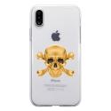 TPU0IPHONEXSKULLOR - Coque souple pour Apple iPhone X avec impression Motifs tête de mort aspect or