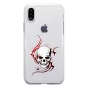 TPU0IPHONEXSKULLTRIBAL - Coque souple pour Apple iPhone X avec impression Motifs tête de mort sur fond tribal