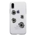 TPU0IPHONEXTROUBALLE - Coque souple pour Apple iPhone X avec impression Motifs impacts de balles