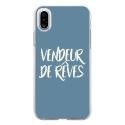 TPU0IPHONEXVENDREVEBLEU - Coque souple pour Apple iPhone X avec impression Motifs vendeur de rêves bleu