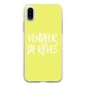 TPU0IPHONEXVENDREVEJAUNE - Coque souple pour Apple iPhone X avec impression Motifs vendeur de rêves jaune