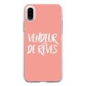 TPU0IPHONEXVENDREVEROSE - Coque souple pour Apple iPhone X avec impression Motifs vendeur de rêves rose