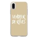 TPU0IPHONEXVENDREVETAUPE - Coque souple pour Apple iPhone X avec impression Motifs vendeur de rêves taupe
