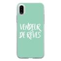 TPU0IPHONEXVENDREVETURQUOIS - Coque souple pour Apple iPhone X avec impression Motifs vendeur de rêves turquoise