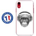 TPU0IPXRVIEUSINGECASQ - Coque souple pour Apple iPhone XR avec impression Motifs singe avec casque