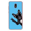 TPU0LENNY5CHIENVBLEU - Coque souple pour Wiko Lenny 5 avec impression Motifs chien à lunettes sur fond bleu
