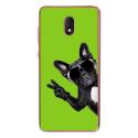 TPU0LENNY5CHIENVVERT - Coque souple pour Wiko Lenny 5 avec impression Motifs chien à lunettes sur fond vert